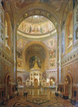 Neo-Classical painting reproductions: Interior of the Church of Christ the Saviour in Moscow