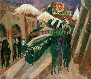 Famous paintings of Trams: Leipzig Street with Electric Tram