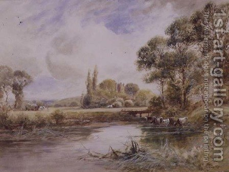 Landscape with Meadows and Cattle Drinking by Henry John Kinnaird - Reproduction Oil Painting