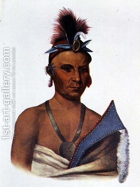 Keesheswa or the Sun a Fox Chief by (after) King, Charles Bird - Reproduction Oil Painting