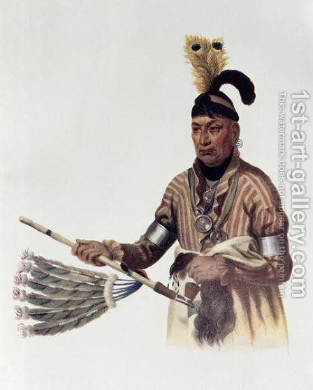 Naw Kaw or Wood a Winnebago Chief by (after) King, Charles Bird - Reproduction Oil Painting