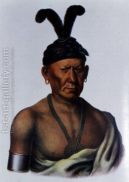 Wakechai or Crouching Eagle a Sauk Chief by (after) King, Charles Bird - Reproduction Oil Painting