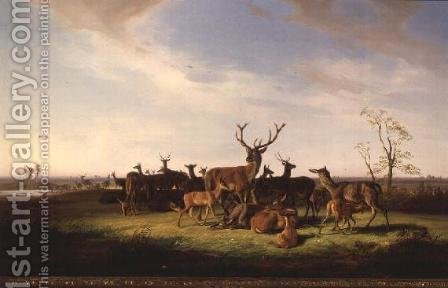 Theodor Julius Kiellerup: A Herd of Deer in a Sunlit Pasture - reproduction oil painting