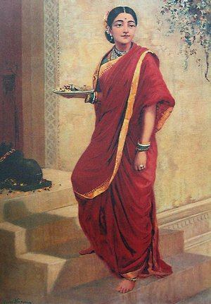 Famous paintings of Plates & Bowls: Lady Going for Pooja
