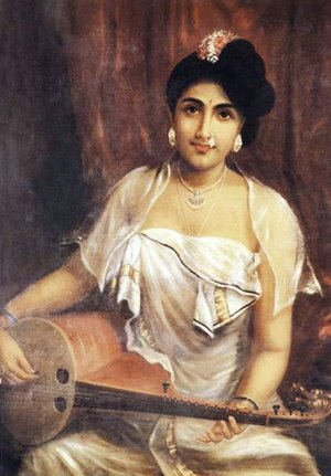 Reproduction oil paintings - Raja Ravi Varma - Lady Playing the Veena