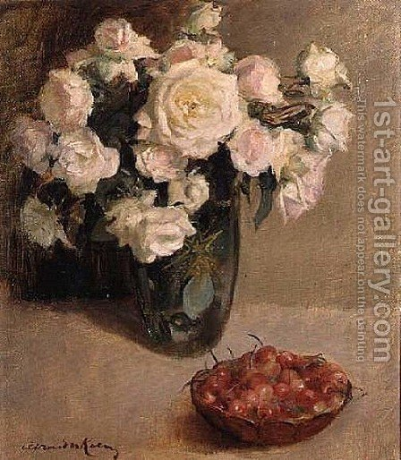 Still Life of Roses and Cherries by A. van der Kelen - Reproduction Oil Painting
