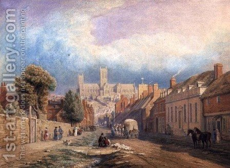 The High street Lincoln by Thomas Kearnan - Reproduction Oil Painting