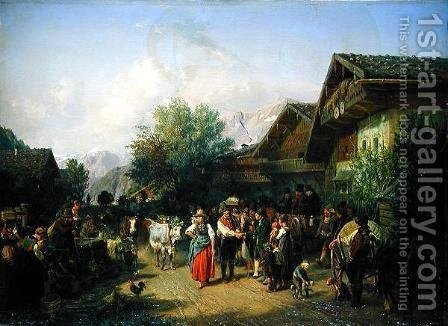 Homecoming from the Alpine Pasture by Hermann Kauffmann - Reproduction Oil Painting