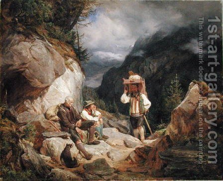 Rest on the Mountain by Hermann Kauffmann - Reproduction Oil Painting