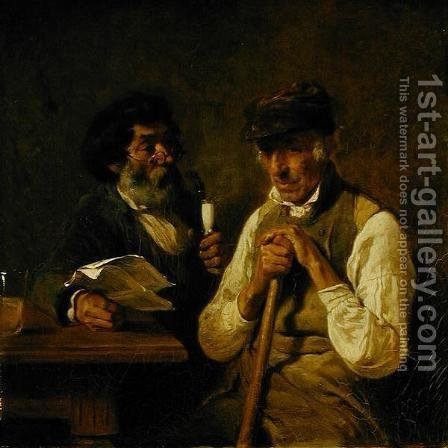 Workers Talking Politics by Hermann Kauffmann - Reproduction Oil Painting