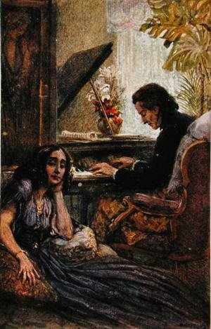 Romanticism painting reproductions: Postcard depicting George Sand 1804-76 listening to Frederic Chopin 1810-1849 play the piano