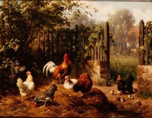 Famous paintings of Palisades: Rooster with Hens and Chicks