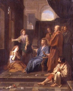 Reproduction oil paintings - Jean-baptiste Jouvenet - Christ in the House of Martha and Mary