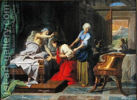 Isaac Blessing Jacob by Jean-baptiste Jouvenet - Reproduction Oil Painting