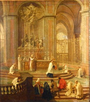 Reproduction oil paintings - Jean-baptiste Jouvenet - The Mass of Canon Antoine de La Porte or The Altar of Notre Dame