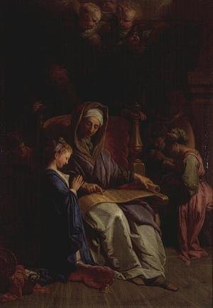Reproduction oil paintings - Jean-baptiste Jouvenet - Saint Anne Reading the Virgins Scroll