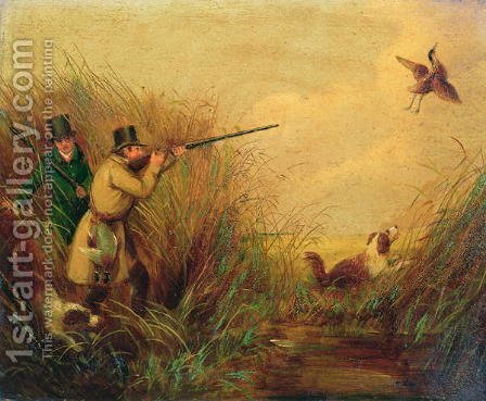 Duck Shooting Amongst Reeds by (after) Jones, Samuel John Egbert - Reproduction Oil Painting