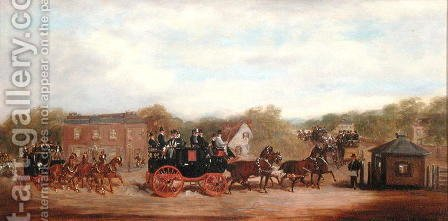 A Four in Hand Race at the Five Bells Tavern New Cross by Herbert Jones - Reproduction Oil Painting
