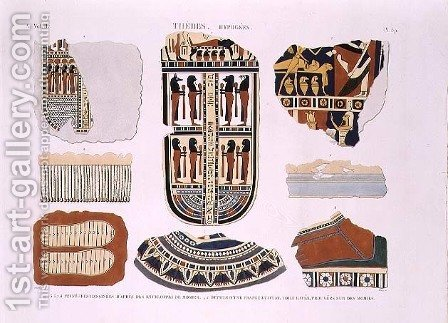 Illustrations of decorative details from the wrappings of mummies by (after) Jomard - Reproduction Oil Painting