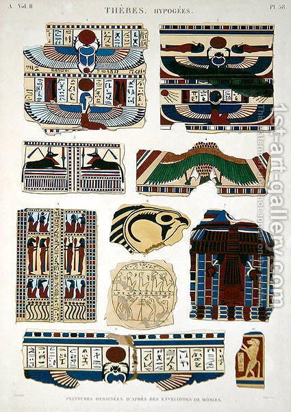 Illustrations of painted designs from the wrappings of the mummies by (after) Jomard - Reproduction Oil Painting