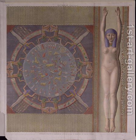 Zodiac ceiling from the Grand Temple at Denderah by (after) Jollois and Devilliers - Reproduction Oil Painting