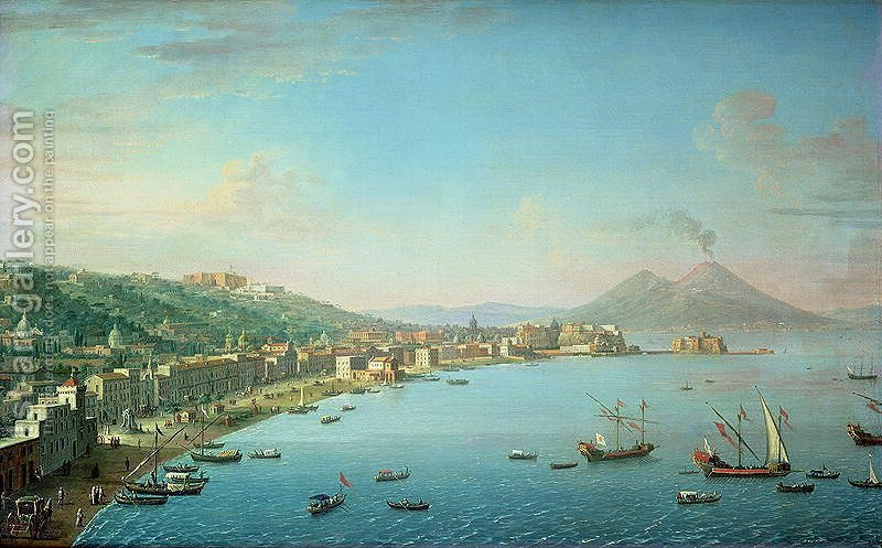 Huge version of Naples from the Bay with Mt Vesuvius in the Background