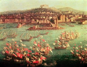 Famous paintings of Ships & Boats: The fleet of King Charles III 1716-88 of Spain before the city of Naples