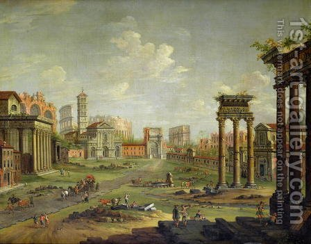 Antonio Joli: The Campo Vaccino Rome Looking Towards St Francesca Romana and the Arch of Titus from the Temple of Saturn - reproduction oil painting