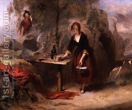Alice the Daughter of Donald Beanham Preparing Breakfast for Edward Waverley by Alexander Johnston - Reproduction Oil Painting