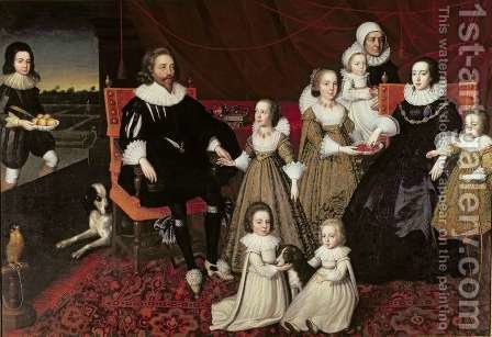 Sir Thomas Lucy 1532-1600 and Lady Alice Spencer d 1648 with Seven of their Thirteen Children by (after) Johnson, Cornelius I - Reproduction Oil Painting