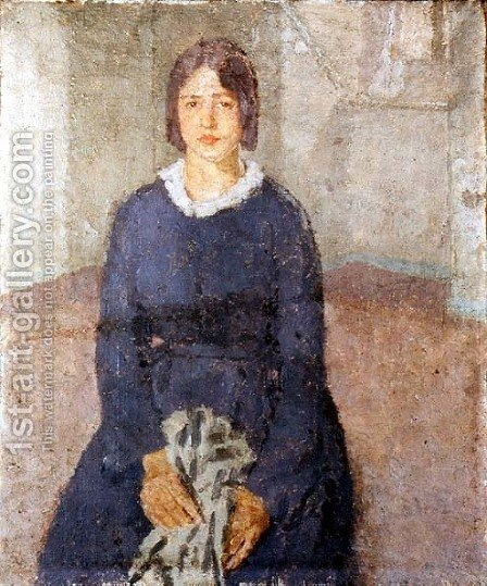 Girl in a blue dress holding a piece of sewing by Gwen John - Reproduction Oil Painting