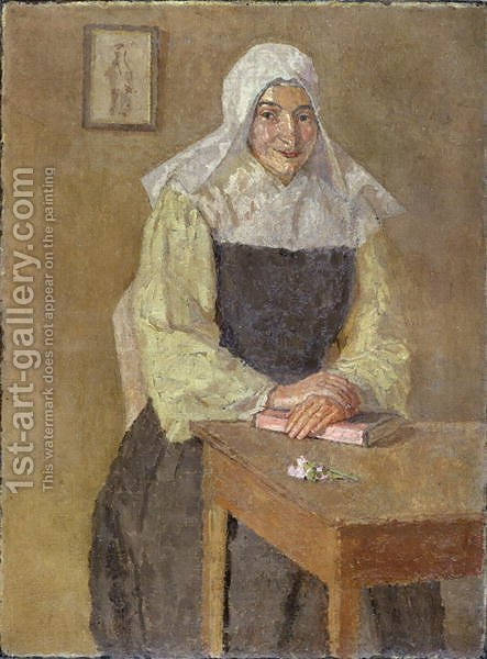 Mere Poussepin Seated at a Table by Gwen John - Reproduction Oil Painting