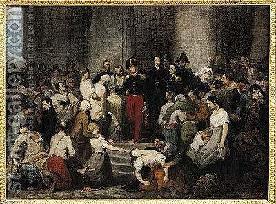 The Duke of Orleans Visiting the Sick at lHotel Dieu During the Cholera Epidemic in 1832 by Alfred Johannot - Reproduction Oil Painting