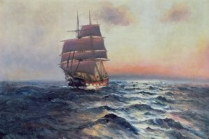 Neo-Classical painting reproductions: Sailing Ship at Sea