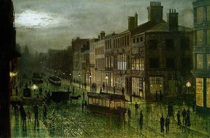 Famous paintings of Trams: Briggate Leeds