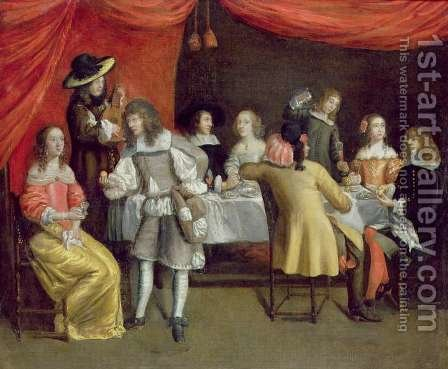 Elegant Company Dining Beneath a Red Canopy by Hieronymus Janssens - Reproduction Oil Painting