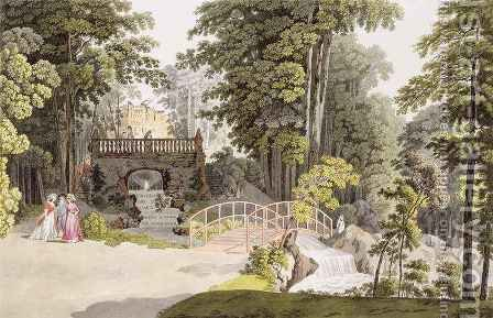 View of the cascade at Erlaw Vienna by (after) Janscha, Laurenz - Reproduction Oil Painting