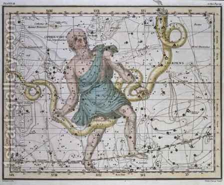 Ophiuchus or Serpentarius from A Celestial Atlas by A. Jamieson - Reproduction Oil Painting