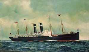 Famous paintings of Ships & Boats: Steamer Kroonland