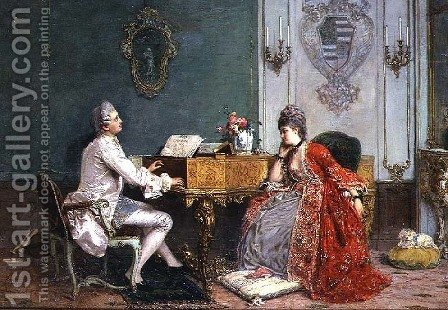A Private Recital by Girolamo Induno - Reproduction Oil Painting