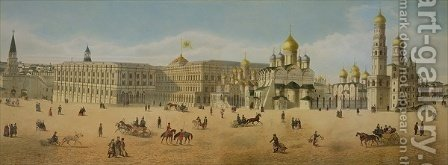 The Great Kremlin Palace and the Cathedrals of the Annunciation and of the Archangel by (after) Indieitzeff, Dmitri - Reproduction Oil Painting