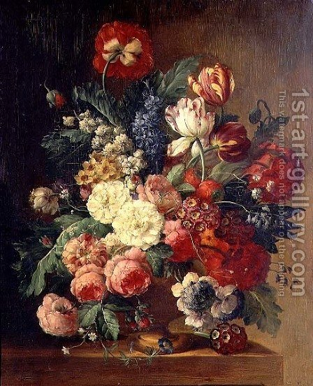 Still Life of Flowers in a Vase by (after) Huysum, Jan van - Reproduction Oil Painting