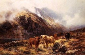 Highland Cattle in a Mountainous Landscape