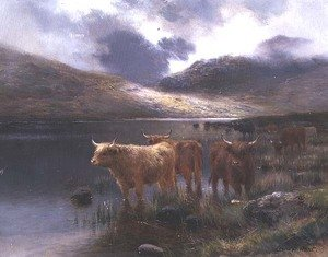 Highland Cattle by a Loch
