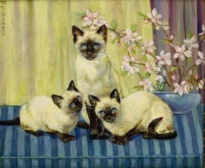 Realism painting reproductions: Three Siamese Cats