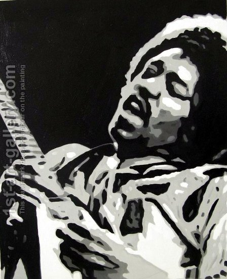 Jimi Hendrix 2 by Pop Art - Reproduction Oil Painting
