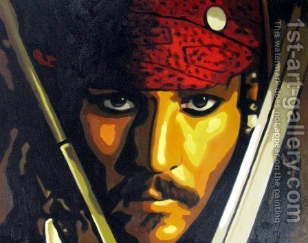 Pirates of the Caribbean - Johnny Depp by Pop Art - Reproduction Oil Painting