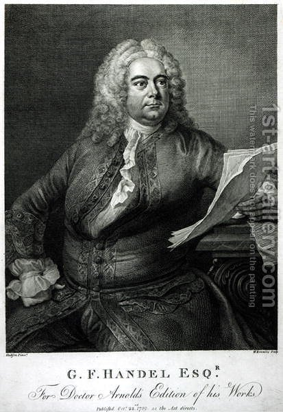 George Frederick Handel 1685-1759 by (after) Hudson, Thomas - Reproduction Oil Painting