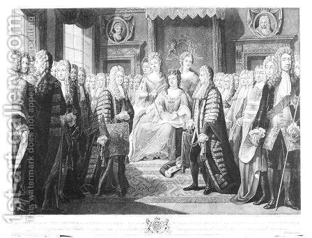 The Articles of the Union Presented by the Commissioners to Queen Anne by (after) Huck, Johann Gerhard - Reproduction Oil Painting