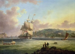 Neo-Classical painting reproductions: H M S Pallas Entering Plymouth Harbour